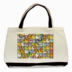 Snakes Ladders Game Board Basic Tote Bag by Mariart