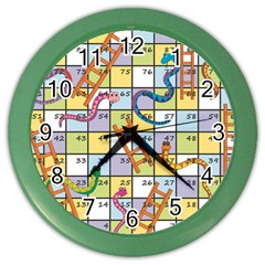 Snakes Ladders Game Board Color Wall Clocks