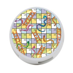 Snakes Ladders Game Board 4 Port Usb Hub (one Side) by Mariart