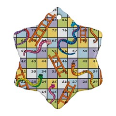 Snakes Ladders Game Board Snowflake Ornament (two Sides) by Mariart