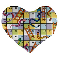 Snakes Ladders Game Board Large 19  Premium Heart Shape Cushions by Mariart