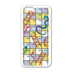Snakes Ladders Game Board Apple Iphone 6/6s White Enamel Case by Mariart