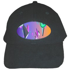 Triangle Wave Rainbow Black Cap by Mariart