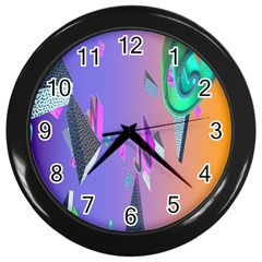Triangle Wave Rainbow Wall Clocks (black)