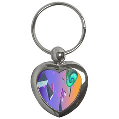 Triangle Wave Rainbow Key Chains (heart)  by Mariart