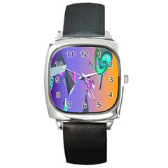 Triangle Wave Rainbow Square Metal Watch by Mariart