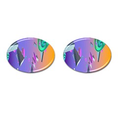 Triangle Wave Rainbow Cufflinks (oval) by Mariart