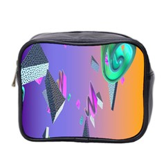 Triangle Wave Rainbow Mini Toiletries Bag 2 Side by Mariart