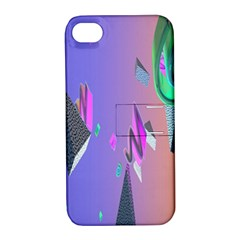 Triangle Wave Rainbow Apple Iphone 4/4s Hardshell Case With Stand by Mariart