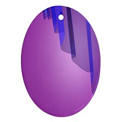 Verre Bleu Wave Chevron Waves Purple Oval Ornament (two Sides) by Mariart