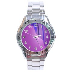 Verre Bleu Wave Chevron Waves Purple Stainless Steel Analogue Watch by Mariart