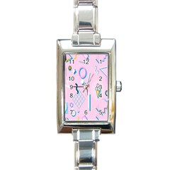 Vintage Unique Graphics Memphis Style Geometric Rectangle Italian Charm Watch by Mariart