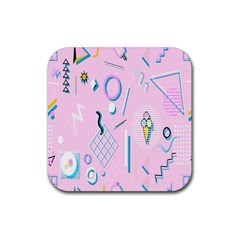 Vintage Unique Graphics Memphis Style Geometric Rubber Square Coaster (4 Pack)  by Mariart