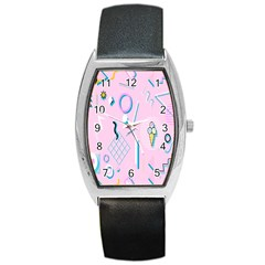 Vintage Unique Graphics Memphis Style Geometric Barrel Style Metal Watch by Mariart
