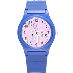 Vintage Unique Graphics Memphis Style Geometric Round Plastic Sport Watch (s) by Mariart