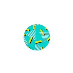 Vintage Unique Graphics Memphis Style Geometric Triangle Line Cube Yellow Green Blue 1  Mini Magnets