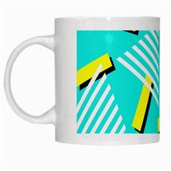 Vintage Unique Graphics Memphis Style Geometric Triangle Line Cube Yellow Green Blue White Mugs by Mariart