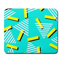 Vintage Unique Graphics Memphis Style Geometric Triangle Line Cube Yellow Green Blue Large Mousepads by Mariart