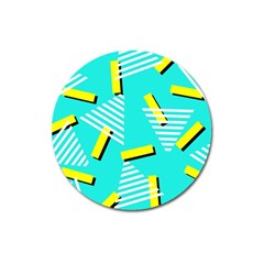 Vintage Unique Graphics Memphis Style Geometric Triangle Line Cube Yellow Green Blue Magnet 3  (round) by Mariart