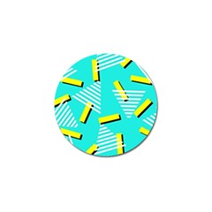 Vintage Unique Graphics Memphis Style Geometric Triangle Line Cube Yellow Green Blue Golf Ball Marker (4 Pack) by Mariart