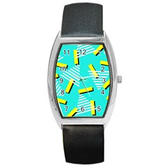 Vintage Unique Graphics Memphis Style Geometric Triangle Line Cube Yellow Green Blue Barrel Style Metal Watch by Mariart