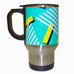 Vintage Unique Graphics Memphis Style Geometric Triangle Line Cube Yellow Green Blue Travel Mugs (white) by Mariart