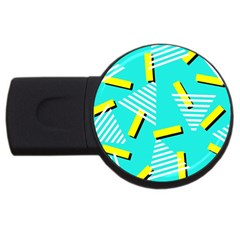 Vintage Unique Graphics Memphis Style Geometric Triangle Line Cube Yellow Green Blue Usb Flash Drive Round (4 Gb) by Mariart