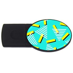 Vintage Unique Graphics Memphis Style Geometric Triangle Line Cube Yellow Green Blue Usb Flash Drive Oval (4 Gb) by Mariart