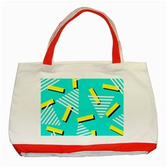 Vintage Unique Graphics Memphis Style Geometric Triangle Line Cube Yellow Green Blue Classic Tote Bag (red) by Mariart