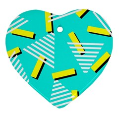 Vintage Unique Graphics Memphis Style Geometric Triangle Line Cube Yellow Green Blue Heart Ornament (two Sides)