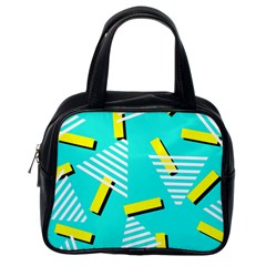 Vintage Unique Graphics Memphis Style Geometric Triangle Line Cube Yellow Green Blue Classic Handbags (one Side) by Mariart
