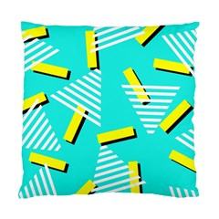 Vintage Unique Graphics Memphis Style Geometric Triangle Line Cube Yellow Green Blue Standard Cushion Case (two Sides) by Mariart