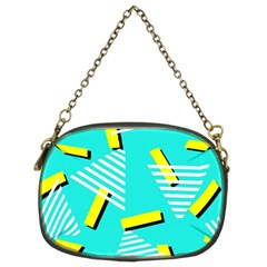 Vintage Unique Graphics Memphis Style Geometric Triangle Line Cube Yellow Green Blue Chain Purses (two Sides)  by Mariart
