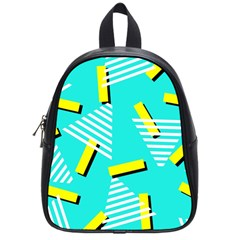 Vintage Unique Graphics Memphis Style Geometric Triangle Line Cube Yellow Green Blue School Bags (small)  by Mariart