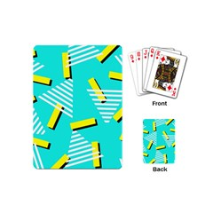 Vintage Unique Graphics Memphis Style Geometric Triangle Line Cube Yellow Green Blue Playing Cards (mini)  by Mariart