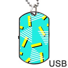 Vintage Unique Graphics Memphis Style Geometric Triangle Line Cube Yellow Green Blue Dog Tag Usb Flash (two Sides) by Mariart