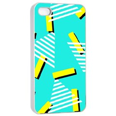 Vintage Unique Graphics Memphis Style Geometric Triangle Line Cube Yellow Green Blue Apple Iphone 4/4s Seamless Case (white) by Mariart