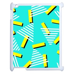 Vintage Unique Graphics Memphis Style Geometric Triangle Line Cube Yellow Green Blue Apple Ipad 2 Case (white) by Mariart