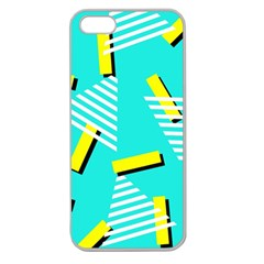 Vintage Unique Graphics Memphis Style Geometric Triangle Line Cube Yellow Green Blue Apple Seamless Iphone 5 Case (clear) by Mariart