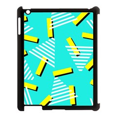 Vintage Unique Graphics Memphis Style Geometric Triangle Line Cube Yellow Green Blue Apple Ipad 3/4 Case (black) by Mariart