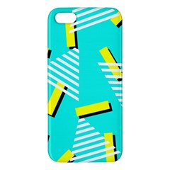Vintage Unique Graphics Memphis Style Geometric Triangle Line Cube Yellow Green Blue Apple Iphone 5 Premium Hardshell Case by Mariart