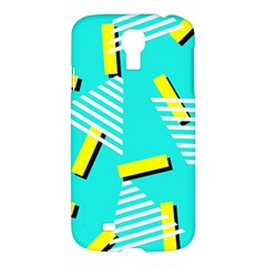 Vintage Unique Graphics Memphis Style Geometric Triangle Line Cube Yellow Green Blue Samsung Galaxy S4 I9500/i9505 Hardshell Case by Mariart