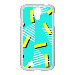 Vintage Unique Graphics Memphis Style Geometric Triangle Line Cube Yellow Green Blue Samsung Galaxy S4 I9500/ I9505 Case (white) by Mariart