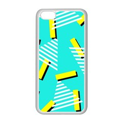 Vintage Unique Graphics Memphis Style Geometric Triangle Line Cube Yellow Green Blue Apple Iphone 5c Seamless Case (white) by Mariart