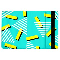 Vintage Unique Graphics Memphis Style Geometric Triangle Line Cube Yellow Green Blue Ipad Air Flip by Mariart