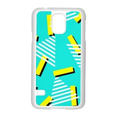 Vintage Unique Graphics Memphis Style Geometric Triangle Line Cube Yellow Green Blue Samsung Galaxy S5 Case (white) by Mariart