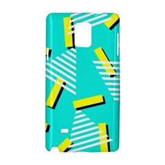 Vintage Unique Graphics Memphis Style Geometric Triangle Line Cube Yellow Green Blue Samsung Galaxy Note 4 Hardshell Case by Mariart