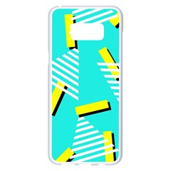 Vintage Unique Graphics Memphis Style Geometric Triangle Line Cube Yellow Green Blue Samsung Galaxy S8 Plus White Seamless Case