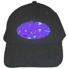 Vintage Unique Graphics Memphis Style Geometric Style Pattern Grapic Triangle Big Eye Purple Blue Black Cap by Mariart