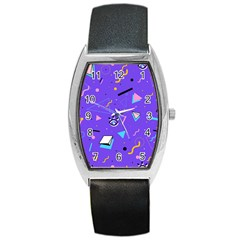 Vintage Unique Graphics Memphis Style Geometric Style Pattern Grapic Triangle Big Eye Purple Blue Barrel Style Metal Watch by Mariart